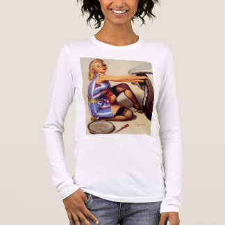 Vintage Retro Gil Elvgren Car Mechanic Pinup Girl Long Sleeve T-Shirt