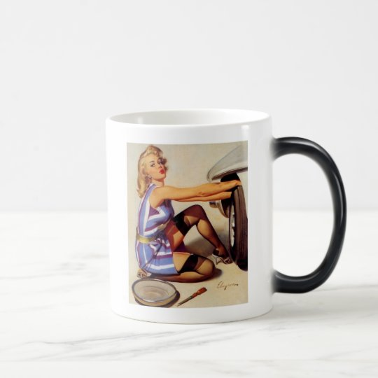 Vintage Retro Gil Elvgren Car Mechanic Pinup Girl Magic Mug