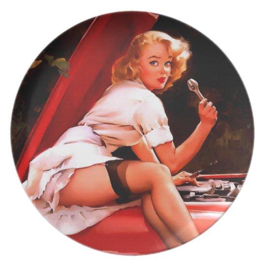 Vintage Retro Gil Elvgren Car Mechanic Pinup Girl Melamine Plate