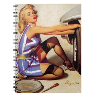 Vintage Retro Gil Elvgren Car Mechanic Pinup Girl Notebook