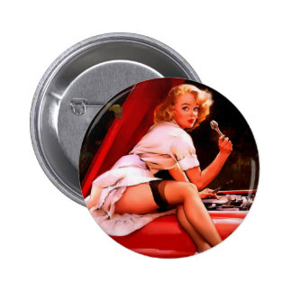 Vintage Retro Gil Elvgren Car Mechanic Pinup Girl Pinback Button