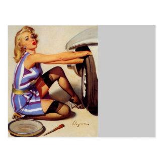 Vintage Retro Gil Elvgren Car Mechanic Pinup Girl Postcard