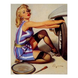 Vintage Retro Gil Elvgren Car Mechanic Pinup Girl Poster