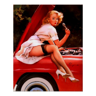 Vintage Retro Gil Elvgren Car Mechanic Pinup Girl Poster