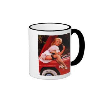 Vintage Retro Gil Elvgren Car Mechanic Pinup Girl Ringer Mug