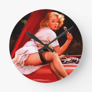Vintage Retro Gil Elvgren Car Mechanic Pinup Girl Round Clock