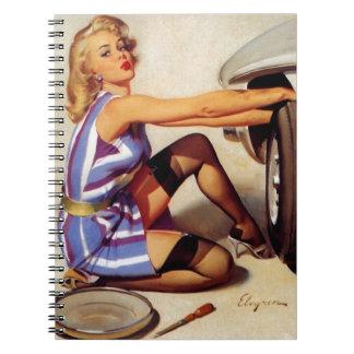 Vintage Retro Gil Elvgren Car Mechanic Pinup Girl Spiral Notebook