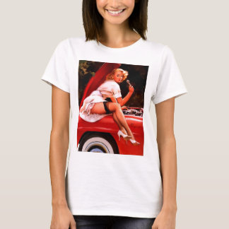 Vintage Retro Gil Elvgren Car Mechanic Pinup Girl T-Shirt