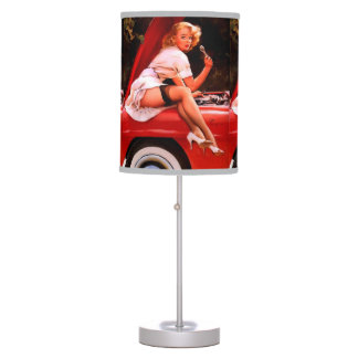 Vintage Retro Gil Elvgren Car Mechanic Pinup Girl Table Lamp