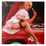 Vintage Retro Gil Elvgren Car Mechanic Pinup Girl Tile