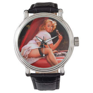 Vintage Retro Gil Elvgren Car Mechanic Pinup Girl Wrist Watch