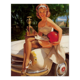 Vintage Retro Gil Elvgren Car Race Pin Up Girl Poster