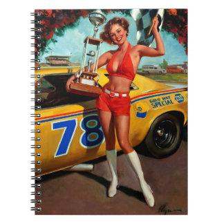 Vintage Retro Gil Elvgren Car Race Pin Up Girl Spiral Notebook
