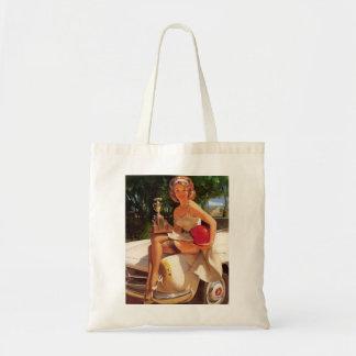 Vintage Retro Gil Elvgren Car Race Pin Up Girl Tote Bag