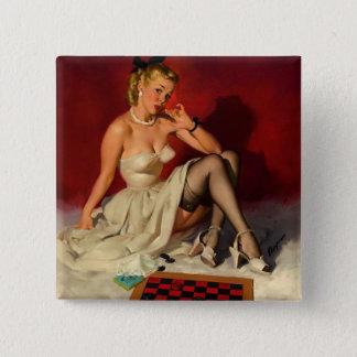 Vintage Retro Gil Elvgren Checkers Pin UP Girl
