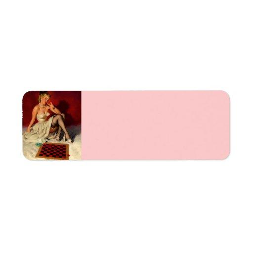 Vintage Retro Gil Elvgren Checkers Pin Up Girl Custom Return Address Label