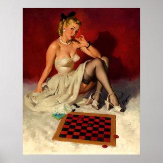 Vintage Retro Gil Elvgren Checkers Pin UP Girl Poster
