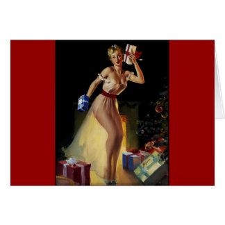 Vintage Retro Gil Elvgren Christmas Eve Pinup girl Card
