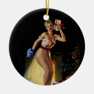 Vintage Retro Gil Elvgren Christmas Eve Pinup girl Ceramic Ornament