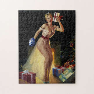 Vintage Retro Gil Elvgren Christmas Eve Pinup girl Jigsaw Puzzle