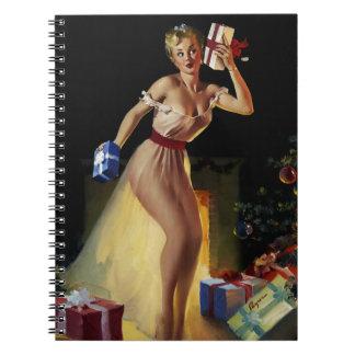 Vintage Retro Gil Elvgren Christmas Eve Pinup girl Notebook