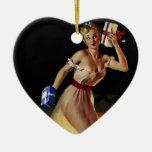 Vintage Retro Gil Elvgren Christmas Eve Pinup girl Christmas Tree Ornaments