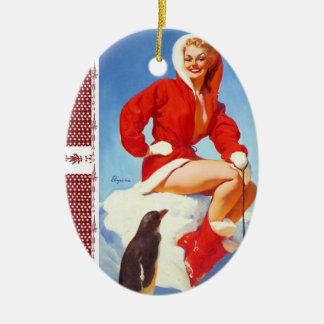 Vintage Retro Gil Elvgren Christmas Pin Girl Ceramic Ornament