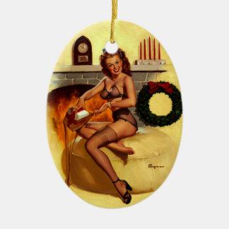 Vintage Retro Gil Elvgren Christmas Pin UP Girl Ceramic Ornament