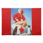 Vintage Retro Gil Elvgren Christmas Pin UP Girl Cloth Placemat