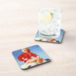 Vintage Retro Gil Elvgren Christmas Pin UP Girl Drink Coasters