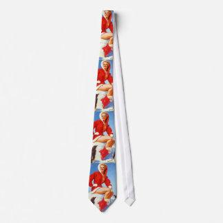 Vintage Retro Gil Elvgren Christmas Pin UP Girl Neck Tie