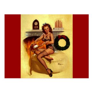 Vintage Retro Gil Elvgren Christmas Pin UP Girl Postcard