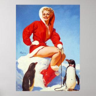 Vintage Retro Gil Elvgren Christmas Pin UP Girl Poster