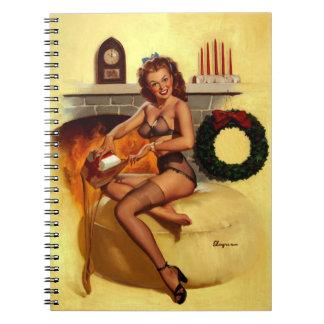 Vintage Retro Gil Elvgren Christmas Pin UP Girl Spiral Notebook