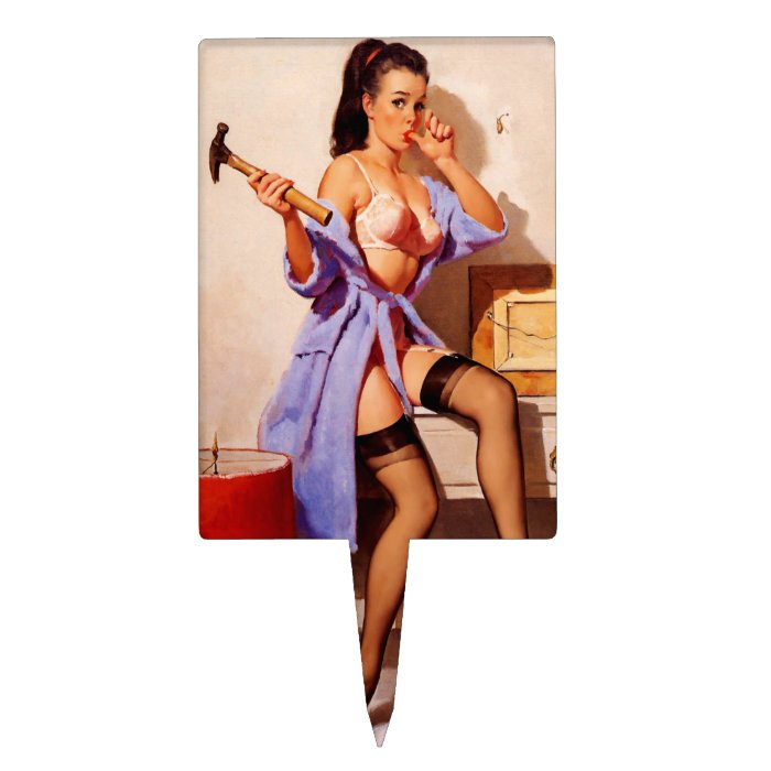 Vintage Retro Gil Elvgren Decorator Pin Up Girl Cake Topper