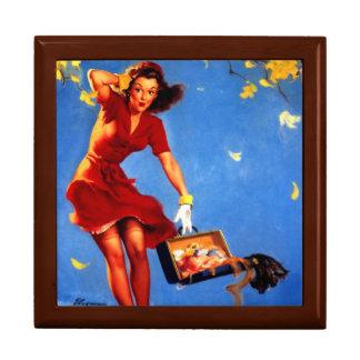 Vintage Retro Gil Elvgren Fall Spell Pinup Girl Trinket Box