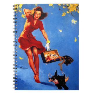 Vintage Retro Gil Elvgren Fall Spell Pinup Girl Notebook