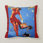 Vintage Retro Gil Elvgren Fall Spell Pinup Girl Pillows