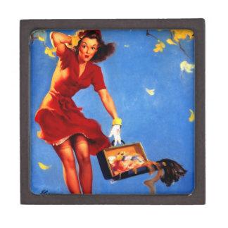 Vintage Retro Gil Elvgren Fall Spell Pinup Girl Premium Keepsake Boxes