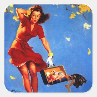 Vintage Retro Gil Elvgren Fall Spell Pinup Girl Square Sticker