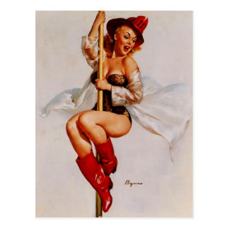 Vintage Retro Gil Elvgren Firefighter Pin Up Girl Postcard