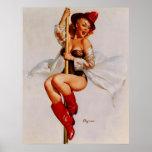 Vintage Retro Gil Elvgren Firefighter Pin Up Girl Poster