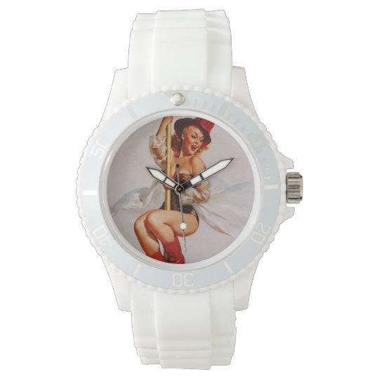 Vintage Retro Gil Elvgren Firefighter Pin Up Girl Wristwatches