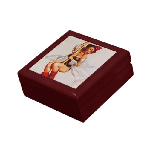Vintage Retro Gil Elvgren Firefighter Pinup girl Jewelry Boxes