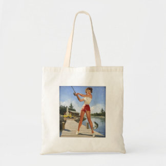 Vintage Retro Gil Elvgren Fishing Pinup Girl Bags