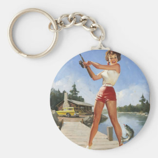 Vintage Retro Gil Elvgren Fishing Pinup Girl Basic Round Button Keychain