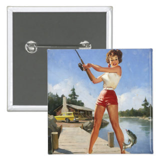 Vintage Retro Gil Elvgren Fishing Pinup Girl Button