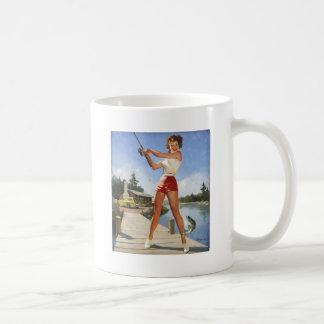 Vintage Retro Gil Elvgren Fishing Pinup Girl Coffee Mug