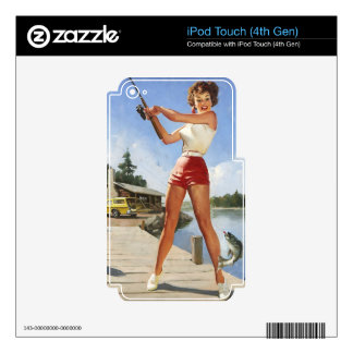 Vintage Retro Gil Elvgren Fishing Pinup Girl Decals For iPod Touch 4G