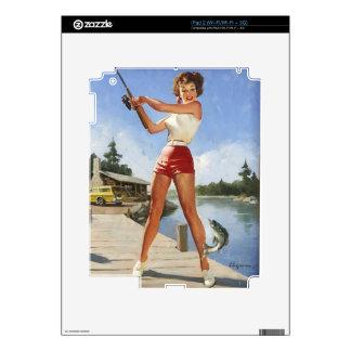 Vintage Retro Gil Elvgren Fishing Pinup Girl iPad 2 Skins